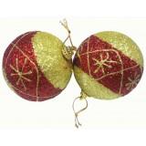 17023 К-кт Коледни топки със златист и червен брокат 6 бр Ф 8 см