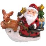 17089 Дядо Коледа с елен светещ 13/14 см