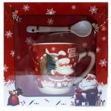 17114.1 Коледна чаша с лъжичка в луксозна кутия 10 см, Ф 8 см