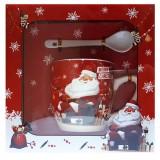 17114.2 Коледна чаша с лъжичка в луксозна кутия 10 см, Ф 8 см
