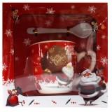 17114.3 Коледна чаша с лъжичка в луксозна кутия 10 см, Ф 8 см
