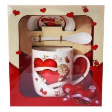 25024 Комплект чаша с чиния и лъжичка в луксозна кутия 10 см, Ф 8 см