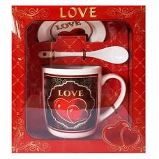 25025 Комплект чаша с чиния и лъжичка в луксозна кутия 10 см, Ф 8 см