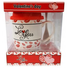 25026.1 Комплект чаша със силиконов капак и лъжичка в луксозна кутия 10 см, Ф 8 см