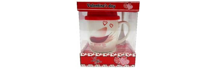 25026.5 Комплект чаша със силиконов капак и лъжичка в луксозна кутия 10 см, Ф 8 см