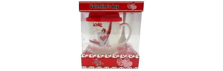 25026.6 Комплект чаша със силиконов капак и лъжичка в луксозна кутия 10 см, Ф 8 см