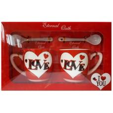 25027.1 Комплект две чаши с лъжички за кафе в луксозна кутия 7см, Ф 6 см
