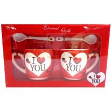 25027.3 Комплект две чаши с лъжички за кафе в луксозна кутия 7см, Ф 6 см