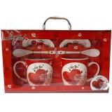 25029.1 Комплект две чаши с чинийки и лъжички в луксозна кутия - куфар