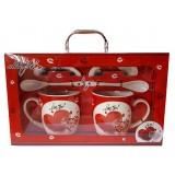 25029.2 Комплект две чаши с чинийки и лъжички в луксозна кутия - куфар