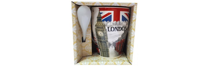 25037.1 Чаша с лъжичка London 10 см, Ф 8 см