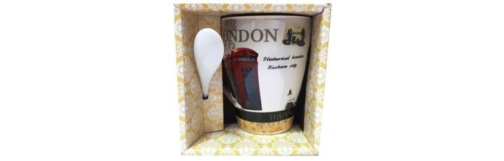 25037.3 Чаша с лъжичка London 10 см, Ф 8 см