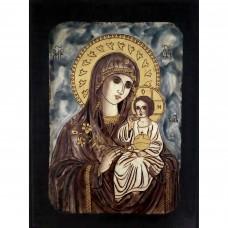 9105.1 Ръчно рисувана Икона с Пресвета Богородица 26/36 см
