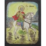 082.4 Ръчно рисувана Икона със Св. Мина 21/31 см