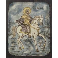 085.1 Ръчно рисувана Икона със Св. Мина 19/24 см