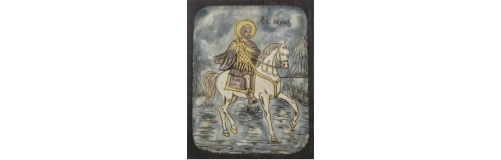 083.5 Ръчно рисувана Икона със Св. Мина 18/28 см