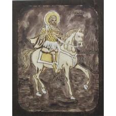 085.2 Ръчно рисувана Икона със Св. Мина 19/24 см