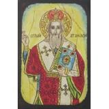 086.4 Ръчно рисувана Икона със Свети Атанасий 14/20 см