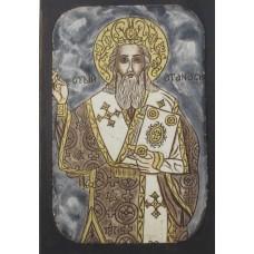 086.5 Ръчно рисувана Икона със Свети Атанасий 14/20 см