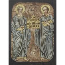 084.3 Ръчно рисувана Икона със Св. Св. Петър и Павел 12/16 см