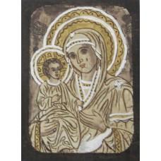 084.15 Ръчно рисувана Икона с Пресвета Богородица 12/16 см