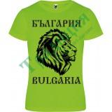 118 Зелена тениска с лъв и надпис България